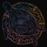 Stylized vector sea turtle. Linear Art. Drawing by hand. Mammals of the ocean. Print. Royalty Free Stock Photos