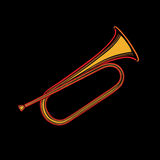 Stylized vector sketch trumpet made of colored lines Stock Photo