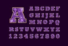 Stylized  vector sparkling jeweled Amethyst precious stone  fancy latin abc alphabet. Use letters to make your own text. Royalty Free Stock Image