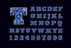 Stylized  vector sparkling jeweled Blue Topaz precious stone  fancy latin abc alphabet typography. Use letters to make. Your own text Stock Photos