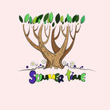 Stylized vector summer tree Stock Photography