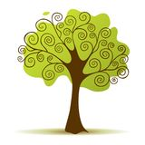 Stylized Vector Tree. Green tree with curly branch Stock Image