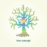 Stylized vector tree illustration with pattern inside. Design element for logo, background and poster. Royalty Free Stock Photo