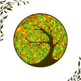 Stylized vector tree on ornament background. With leaves Stock Photo