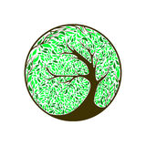 Stylized vector tree on ornament background. With leaves Stock Illustration