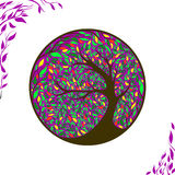 Stylized vector tree on ornament background. With leaves Royalty Free Illustration
