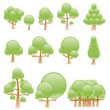 Stylized vector trees Stock Photos