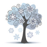 Stylized vector winter tree with some snowflakes Stock Images
