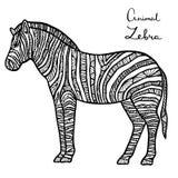 Stylized vector Zebra, zentangle isolated on white background. Royalty Free Stock Image