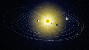 Stylized view of the Solar system. stock illustration