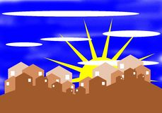 Stylized village on a hill with sun Stock Images