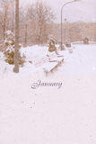 Stylized vintage background for calendar month. January Stock Photo