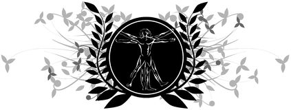 Stylized vitruvian man on a shield with floral decoration isolated. Image representing the vitruvian man on an isolated shield with leaves. An idea for logos or Royalty Free Stock Photo