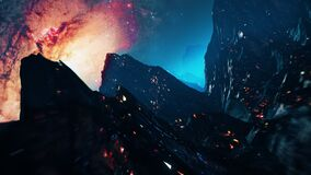 Stylized VJ looping 3D animation with mountains, space and high speed flythrough