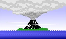 Stylized volcano on an island Royalty Free Stock Images