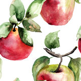 Stylized watercolor apple illustration. Seamless wallpaper Stock Image