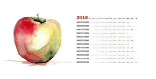 Stylized watercolor apple illustration. With 2018 calendar Stock Photography