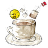 Stylized watercolor cup of tea Royalty Free Stock Photography