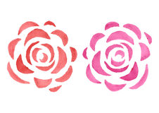 Stylized watercolor roses Royalty Free Stock Images