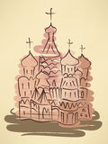 Stylized watercolor sketch of traditional russian church Stock Photos