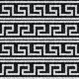 Stylized waves black and white mosaic seamless pattern in antique roman style. Vector illustration - eps 10 royalty free illustration