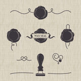 Stylized wax seals on seamless canvas. Silhouette templates for your design. Set of wax seal, rubber stamp and decorative elements of the card vector illustration