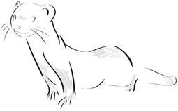 Stylized weasel isolated in black royalty free illustration