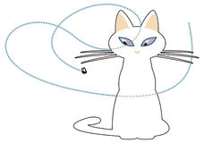 Stylized white cat following a passing fly with her eyes. Royalty Free Stock Photo