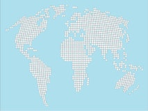 Stylized white dotted World map. On soft blue Vector Illustration