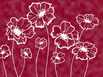 Stylized white flowers. On an unusual maroon background royalty free illustration