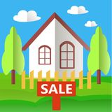 Stylized white house with a red sign Sale, green grass, blue sky Stock Images