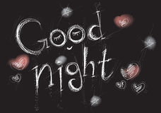 Stylized White Lettering Goodnight On A Black Background Stock Photo