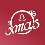 Stylized white lettering xmas with 3D effect Stock Photo