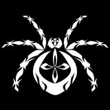 Spider stylized. A stylized white spider on a black background vector illustration Stock Photos