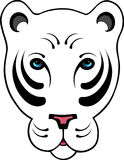 Stylized White Tiger. Hand drawn stylized white tiger head stock illustration