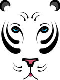 Stylized White Tiger - No Outline. Hand drawn stylized white tiger head - no outline around face/ears stock illustration