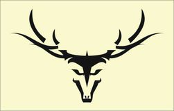 Stylized Wild Buck Head with the Long Horn. Tribal art on white background vector illustration