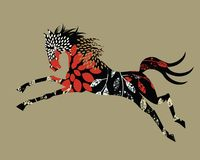 Stylized wild Horse. Wild horse concept - leaves flowers organic elements - in vector format release clip mask to reveal full elements Royalty Free Stock Image