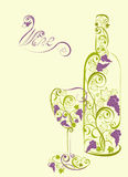 Stylized wine bottle and wine glass Royalty Free Stock Images