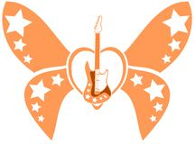 Stylized winged heart with guitar isolated Stock Images