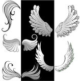 Stylized wings. Artistically painted, stylized, contoured wings Stock Images