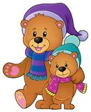 Stylized winter bears theme 1 vector illustration