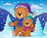 Stylized winter bears theme 2 Royalty Free Stock Photos