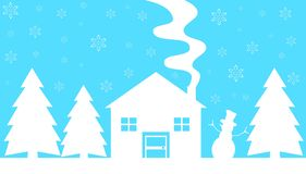 Stylized winter house with trees and snowman in light blue and white stock photography