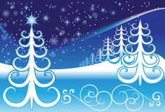 Stylized winter landscape Stock Images