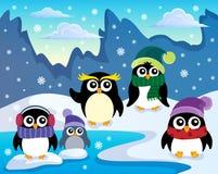 Stylized winter penguins theme 1 Royalty Free Stock Images