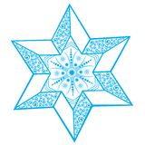 Stylized winter star with snowflake Stock Photography