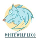 Stylized wolf head logo. Stylized white wolf head logo with coloor Stock Photography