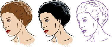 Stylized woman in 3 styles Royalty Free Stock Photography