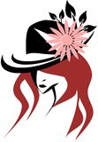 Stylized woman with decorated hat Royalty Free Stock Photography